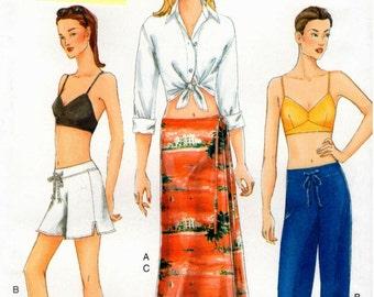 Vogue UNCUT Pattern 7305 - Misses Easy Shirt, Top, Skirt, Shorts & Pants - 14-18