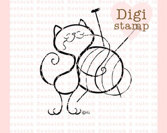 Cat Knit Digital Stamp