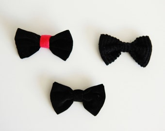 Soft black bow / brooch / bow tie / hair decoration