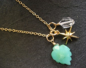 STAR- mini charm necklace with starburst charm, chrysoprase and herkimer diamond quartz on gold-filled chain