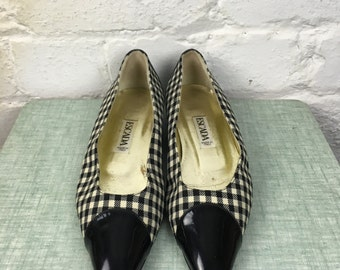 Vintage ESCADA - 1980's Womens Designer Black Patent Leather, Black/White Gingham, Flat Slip On Shoe. Made in Italy. UK Size 4