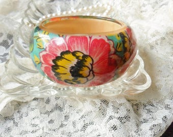 Wide Floral Bangle Bracelete, Thick Lucite Cuff Bracelet with Multi Colored Flowers and Leaves