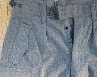 Vintage 1960s German Military Pants Army Green Wool / 60s Men's Olive Drab Pants Cargo Pockets Muermann K.G.  27 x 29