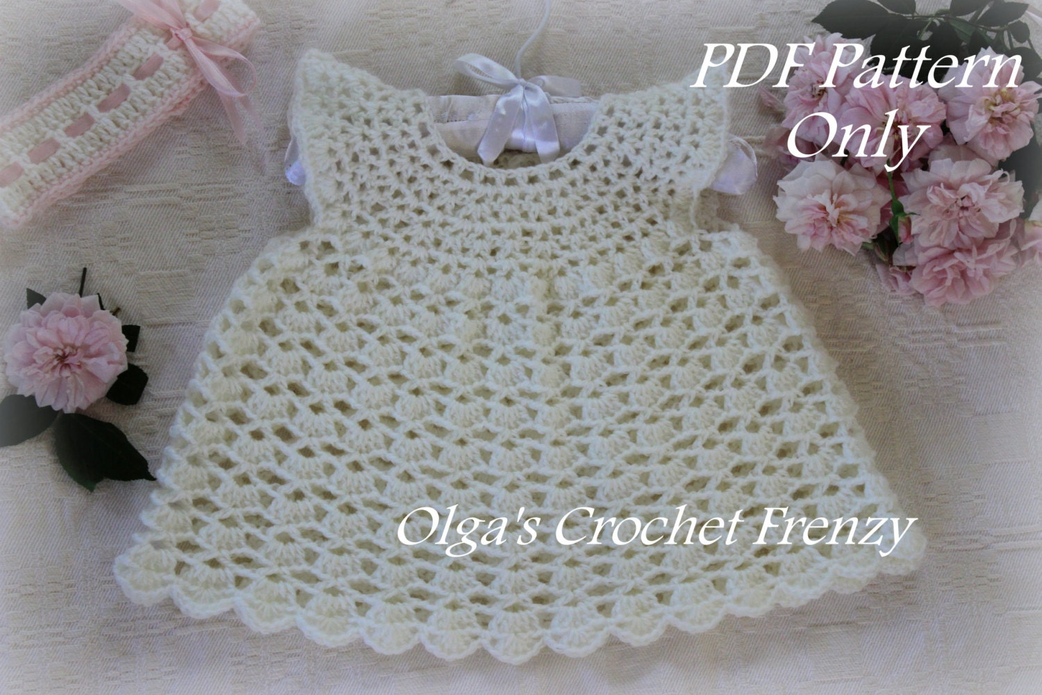 Pinafore Style Lace Baby Dress Crochet Pattern, Size 0-3 Months ...