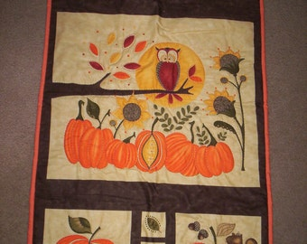 Hand Quilted Owl and Pumpkins Wall Hanging