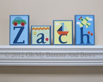 Baby Name Blocks . ROUTED EDGE . Nursery Name Blocks . Nursery Decor . Name Blocks . Wood Name Blocks . Trains . Planes . Boats