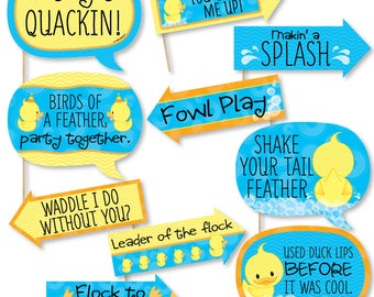 Funny Ducky Duck - Baby Shower Photo Booth Props - Rubber Ducky - Birthday Party Photo Booth Prop Kit - 10 Props & Dowels