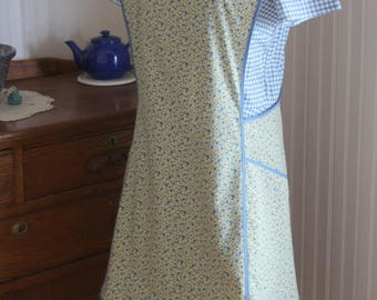 Blue and Natural Calico Vintage Inspired Apron - Ready to Ship- No Ties Criss Cross Back Old-Fashioned