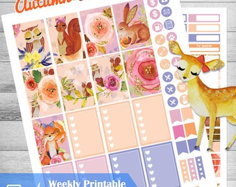 Woodland Animal stickers, Happy Planner stickers, Printable Mambi Weekly kit, Glam woodland planner, Lavieprints, Autumn planner mambi, THP