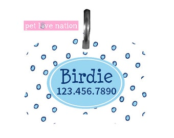 Personalized Pet Tag, Dog Tag, ID Tag,  Polka Dot Pet Tag With Name And Phone Number