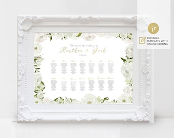 Printable Seating Chart Poster | Wedding Table plan | template Instant Download | DIY 18x24 | Floral White Peony