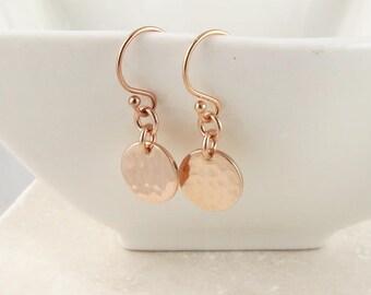 Rose Gold Dot Earrings, dainty rose gold hamered disc earrings