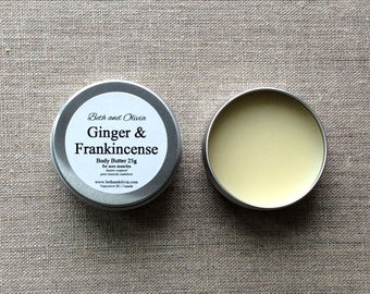 Ginger and Frankincense balm 30g, Body butter, ginger salve, Frankincense salve, muscle rub, arnica oil, comfrey salve