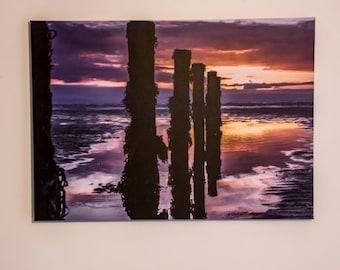 Sunset, Seaside, Landscape, Photograph On Canvas. For Wall Hanging Decor. Size 70cm x 50cm x 3cm