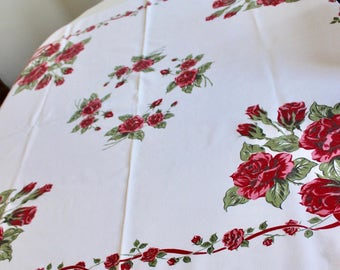 Vintage Printed Cotton Tablecloth Bouquets of Roses & Ribbons