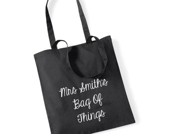 Teacher Name - Bag Of Things 100% Cotton Tote Bag