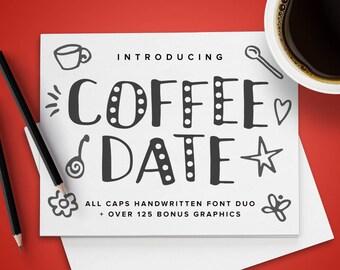 Coffee Date Font Duo plus 125+ Bonus Graphics   OTF & TTF   Fun Cute All Caps Handwritten Handmade Typeface