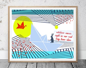 Origami print, japanese type print, geometric, rabbit, crane, bird, boat, stars, original print, sun print,