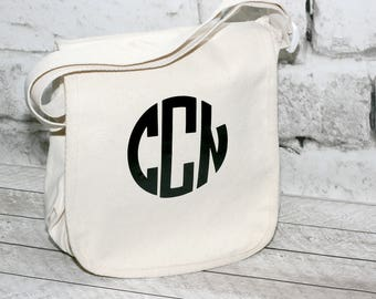 Circle Monogram Canvas Messenger Bag