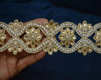 Indian Laces Saree Border Ribbon and Beaded Trims Dull Gold Kundan Lace  Stone Work Border Glass Bead Work Embellishment Trim by the Yard