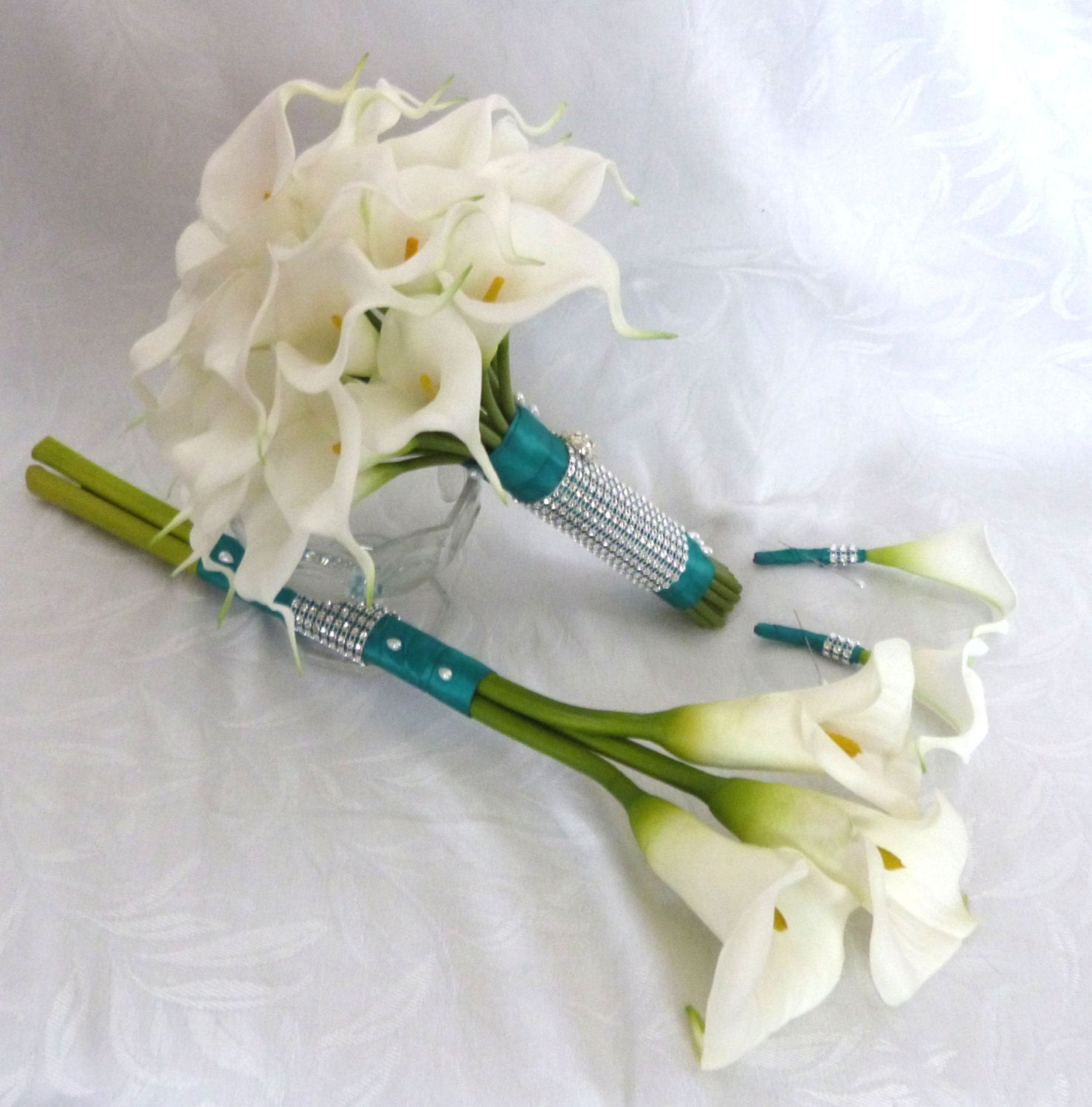 Calla lily wedding bouquet with long stem real touch white zoom izmirmasajfo Choice Image