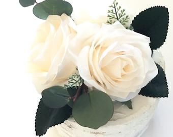 Cake Topper // Ivory Rose Cake Topper // Wedding Cake Topper // Flower Cake Topper // Birthday Cake Topper // Smash Cake