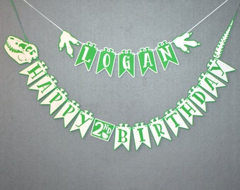 Dino Birthday Banner - With Outline - Dinosaur Birthday Banner - Dino Party - Dinosaur Party Banner -Dinosaur Theme-  Personalized Banner