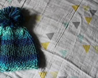 Blue Striped Hat with Pom Pom