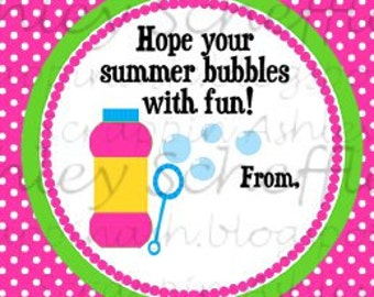 Instant Download. Diy. Printable. Favor Tag. Tag. Bubble. Summer. End of school. Pink. Teacher Gift. Bubble Favors.