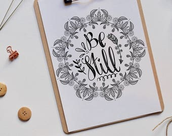 Be Still   Inspiration   Encouragement   Print   Hand lettering   Home Decor   Scripture   Wall Art    Christian Gifts   Psalm 46:10