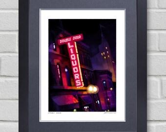 Chicago art - Painting of Double Door Club - Wicker Park