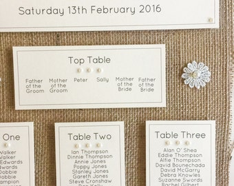 Personalised Pearl & Hessian Wedding Seating Table Plan A3,A2 or A1