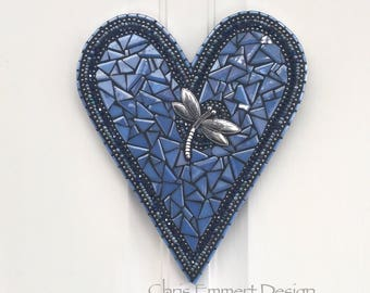 Wall Hanging Heart, Blue ( Glow in the Dark) Heart -Mosaic / Porch Decor, Wall Decor