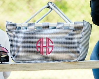 Monogrammed Houndstooth Market Tote, Monogrammed Houndstooth Market Basket, Reusable Black Eco Tote, Black Game Day Tote, Shopping Tote