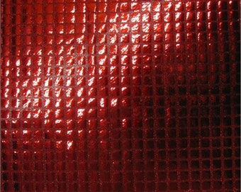 Square Sequins Hologram Fabric - RED - Sold By Yard Purse Wallet Dress Phone Cover Accessories