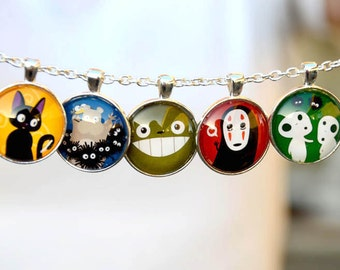 Totoro & Studio Ghibli 6 in 1 Glass Pendant Necklace - howls moving castle spirited away noface kodama susuwatari calcifer princess mononoke