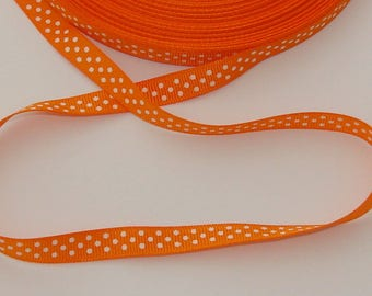 1 meter Ribbon satin grosgrain orange striped width 10mm