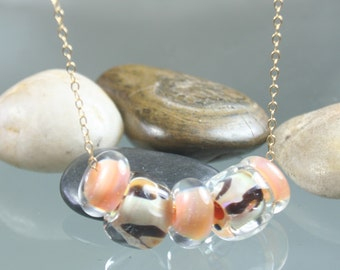 FINAL SALE * 50% off * SALE * necklace - lampwork glass beads - gold