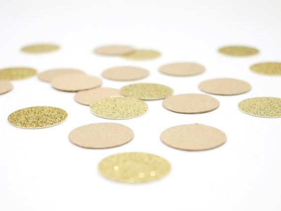 100 Kraft + Gold Glitter - 1 Inch Circle Confetti - Wedding Confetti. Birthday Party. First Birthday. Rustic Wedding. Bridal Shower.