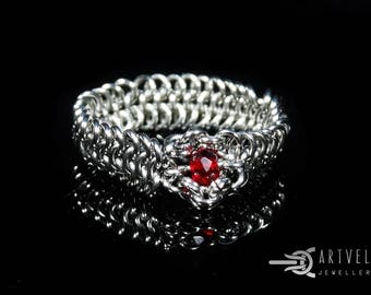 Hand Ringed Ring Chainmaille  DEA Stainless Steel Garnet Crystal Beads