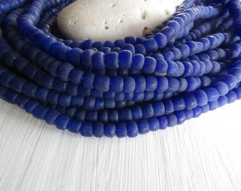 blue seed Beads, blue glass beads , opaque  small tube barrel spacer , indonesia,  New Indo-pacific 3 to 6mm / 22 inch strd - 6BB1-51