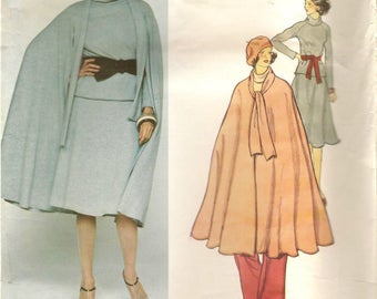 70s Vintage Vogue 1371 Teal Traina Cape Skirt Top Pants Sewing Pattern Size 14