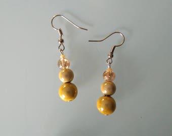 Earring 3 beads cluster
