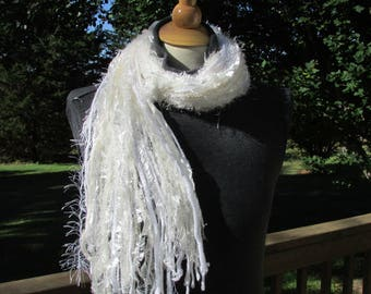 """Fringe Scarf, womens scarf, """"Icicles"""", womens fashion scarf, winter wear, womens gifts, soft scarf, white scarf, scarf gift, shabby chic"""