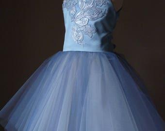 SKY Dusty Blue Tulle Flower Girl Dress Vintage Dress Wedding Bridesmaid Dress Dusty Blue lace