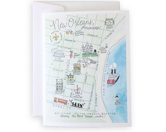 New Orleans Watercolor Map Notecard Set