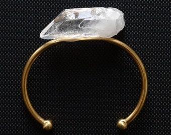 Quartz Chunk Bangle, Quartz Crystal Bracelet