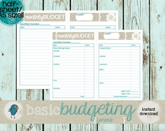 Budget Planner Forms: A5/ Half-Sheet sized!! Instant Download, Printable Monthly Budget Worksheet for your Budget Binder