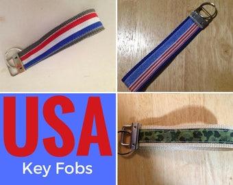 USA America or Texas Key Fob: Red White & Blue, Flag, Camo, Stars and Stripes Keychain Ring Wristlet ribbon cotton or nylon webbing choice