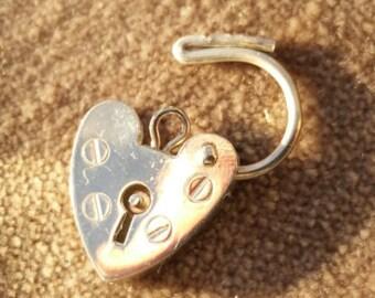 Silver Heart Padlock Charm - Vintage Sterling Opening Lock Clasp, Bracelet Catch Charm